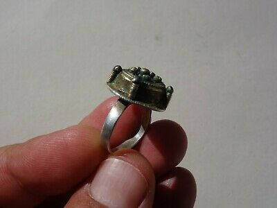 ancient Byzantine / Middle Ages silver - gilt ring, nicely filigree decorated 9