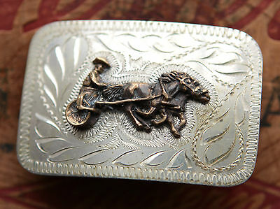 Vintage Hand Made Engraved Harness Racing Western Cowboy Belt Buckle 2