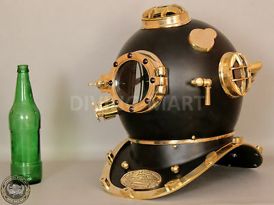 US Navy Mark V Nautical Marine Antique Brass Powder Coating Divers Diving Helmet 4