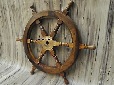"18""Nautical Wooden Ship Steering Wheel Pirate Decor Wood Brass Fishing Wall Boat 2"