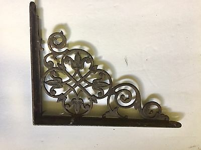 "Set of 2 Antique Cast Iron Fancy ""Le Flur' ""Victorian Shelf Brackets 3"