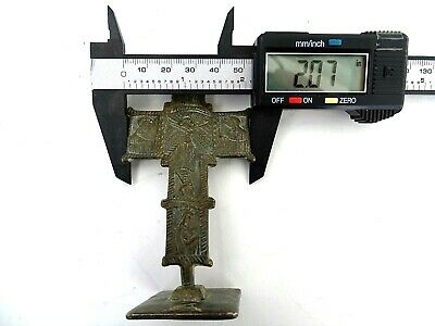 Ancient Byzantine Medieval bronze Cross Crucifix with bread stamp Prosphora 12