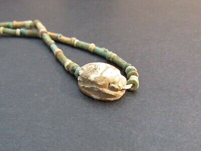 NILE  Ancient Egyptian Scarab Amulet Mummy Bead Necklace ca 600 BC 2