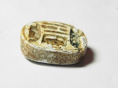 Zurqieh -Af515- Ancient Egypt , New Kingdom Stone Scarab. 1400 B.c 3