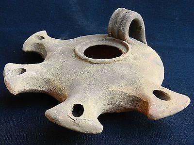Big Jerusalem Oil lamp Holy Land Roman Herodian Antique Pottery Clay 4 Nozzles 3