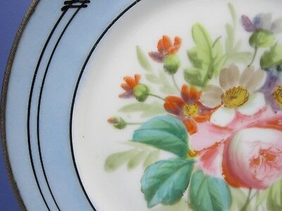 C19Th Continental Plate German? Russian ?Brass Bound Hand Painted Flowers 3