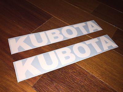 KUBOTA TRACTOR VINYL DECALS SET OF 2 WHITE