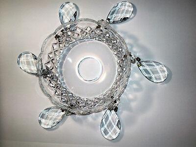 alte Kristallglas Lüsterschale Ø 10 cm mit Behang Okatogon und Tropfen