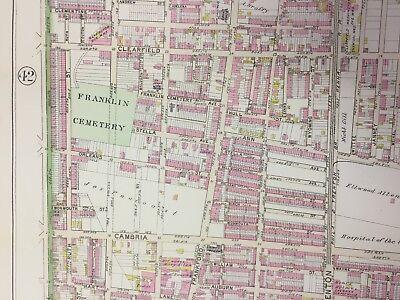 1895 Franklin Cemetery Allegheny Square Richmond, Philadelphia Pa Atlas Map 2