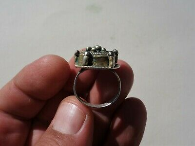 ancient Byzantine / Middle Ages silver - gilt ring, nicely filigree decorated 8