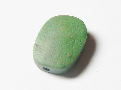 Zurqieh -52H- Ancient Egypt, Roman? Green Faience Scarab. 100 A.d