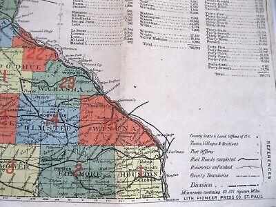 Original 1883 Pocket Map of Minnesota published St Paul Legislative Manual as is 4