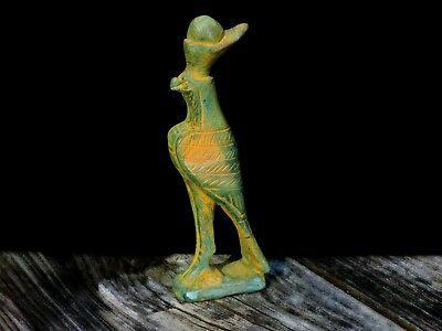 Antique Ceramic Faience Egyptian Falcon God Horus Handmade Statue Sculpture 2