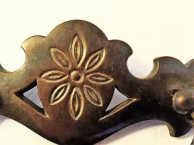 """Antique Hardware Furniture Part Vintage Brass Chippendale drawer pull 3""""centers 2"""