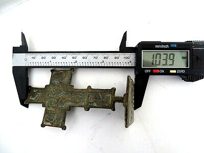 Ancient Byzantine Medieval bronze Cross Crucifix with bread stamp Prosphora 10