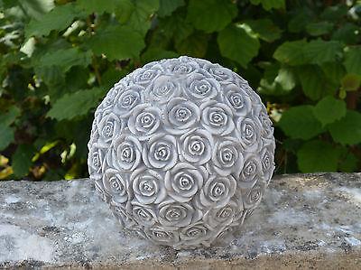 MASSIF SCULPTURE EN Pierre Décoration de Jardin Boule Motif Roses D\'Espace