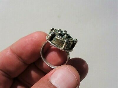 ancient Byzantine / Middle Ages silver - gilt ring, nicely filigree decorated 7