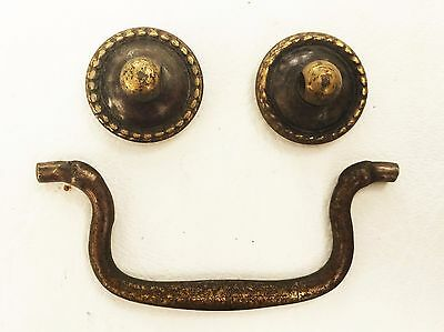 "Swan Neck Brass handle Vintage Chippendale antique hardware drawer pull 3""center"