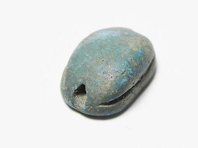 Zurqieh -Af127- Ancient Egypt ,  New Kingdom Egyptian Blue Scarab 1400 B.c 3