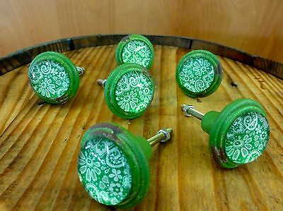 6 GREEN-WHITE LACE GLASS DRAWER CABINET PULLS KNOBS VINTAGE DISTRESSED hardware 4
