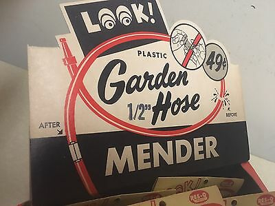 """No-Tool 1/2"""" GARDEN WATER HOSE REPAIR MENDER 1950's NEW OLD STOCK By Res-Q"""