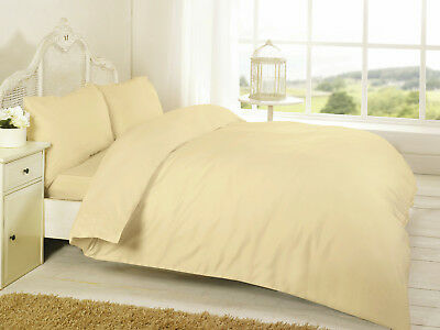 Plain Dyed Duvet Cover Quilt Bedding Set With Pillowcase Single Double King Size 5