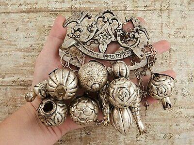 Antique Vintage Victorian Sterling Silver Ragastens Penca Balangandan Necklace 5