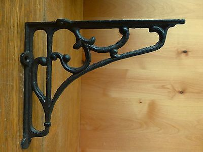 "6 LARGE BROWN ANTIQUE-STYLE 8"" SHELF BRACKETS CAST IRON rustic garden SCROLL 4"