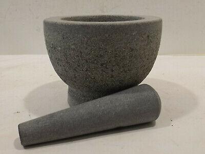 schöner grauer  Stein Granit Speckstein Mörser mit  Stößel 3