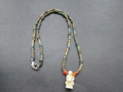 NILE  Ancient Egyptian Harpocrates Amulet Mummy Bead Necklace ca 600 BC 3