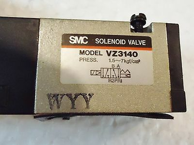 4 USED SMC VZ3140 SOLENOID VALVE, PRESS: 1.5,,,,,7Kgf/cm/2.