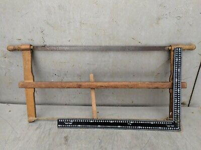 Painted Wood Saw Bow Carpenters Hand Rustic Tool Antique Primitive 6