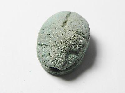 Zurqieh -Af324- Ancient Egypt , New Kingdom Faience Scarab. 1400 B.c 2