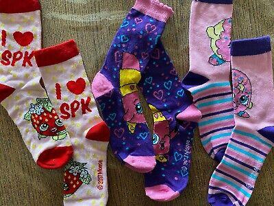 3 Paia Calzini Shopkins Calze Bambina Bimba 2 Scelte 23/26 27/30 31/34 Rosa 2