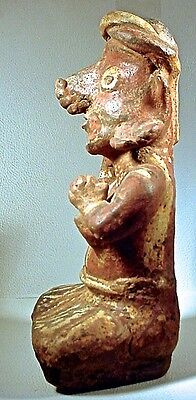 Pre-Columbian NAYARIT SEATED FEMALE W/BOWL, EX: SOTHEBY'S '78 3