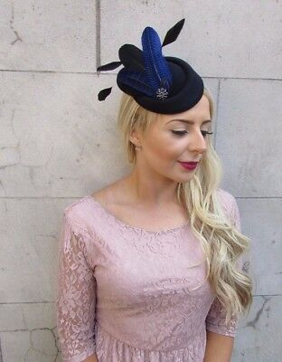 Black Royal Blue Feather Pillbox Hat Hair Fascinator Races Clip Wedding Vtg 4014 3
