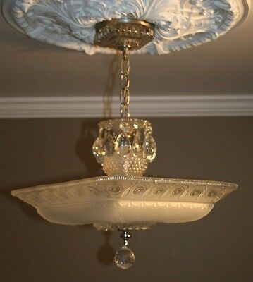 Antique large square frosted glass art deco custom light fixture chandelier 6