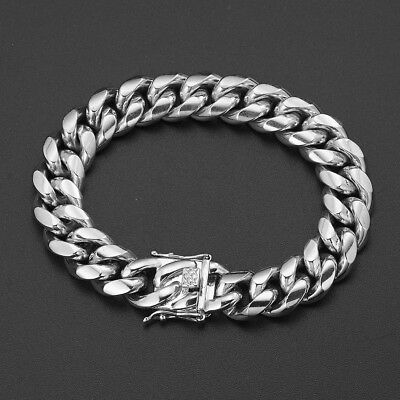 """Silver Tone Mens Cuban Link Bracelet High Quality Stainless Steel Bangle 8.5"""" 4"""