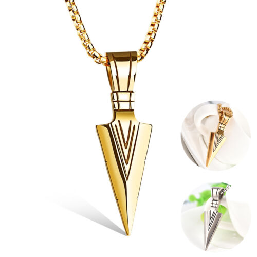 Men's Fashion Jewelry Gold Silver Arrow Head Pendant Long Chain Necklace Gift 2