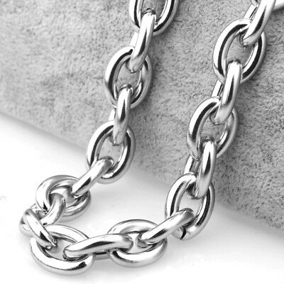 "15MM Heavy Polished 316L Stainless Steel Silver Rolo Chain Men's Necklace 24"" 6"
