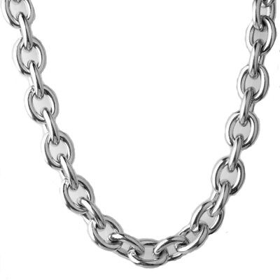 "15MM Heavy Polished 316L Stainless Steel Silver Rolo Chain Men's Necklace 24"" 8"