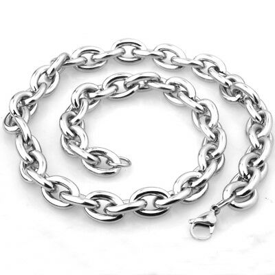 "15MM Heavy Polished 316L Stainless Steel Silver Rolo Chain Men's Necklace 24"" 5"