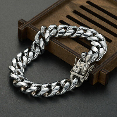 """Silver Tone Mens Cuban Link Bracelet High Quality Stainless Steel Bangle 8.5"""" 5"""