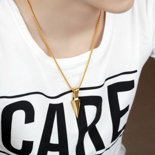 Men's Fashion Jewelry Gold Silver Arrow Head Pendant Long Chain Necklace Gift 3