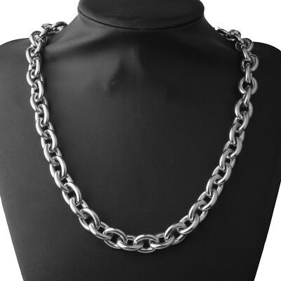 "15MM Heavy Polished 316L Stainless Steel Silver Rolo Chain Men's Necklace 24"" 2"