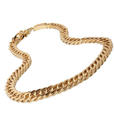 """15mm Double Curb Link Chain Mens Gold Tone Necklace Stainless Steel 8-40"""" Option 4"""