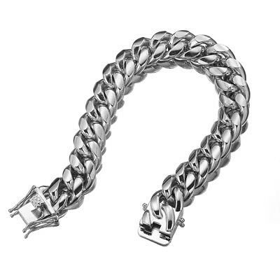 """Silver Tone Mens Cuban Link Bracelet High Quality Stainless Steel Bangle 8.5"""" 2"""