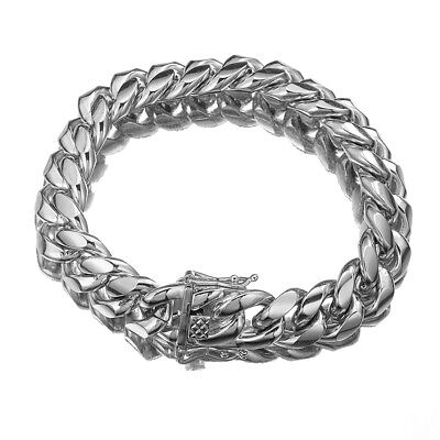 """Silver Tone Mens Cuban Link Bracelet High Quality Stainless Steel Bangle 8.5"""" 3"""