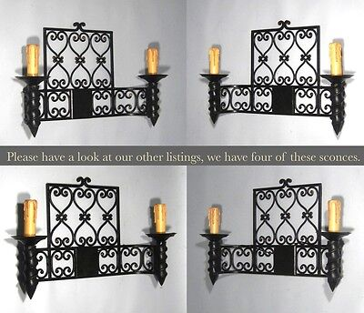"""Large Vintage French Wrought Iron Sconce, """"Chateau"""" Style, 19 x 13 inches 9 • CAD $443.32"""