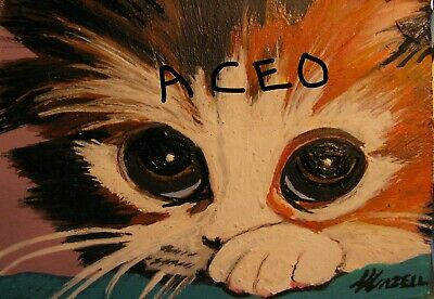 """A834        Original Acrylic Aceo Painting By Ljh  """"Frankie""""  Cat  Kitten 2"""